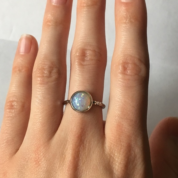 43ae84687d5 Jewelry | Size 6 Opal Ring Hammered Silver Band | Poshmark